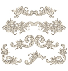 set of calligraphic elements vintage baroque vector image