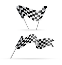 black and white checkered flags vector image vector image