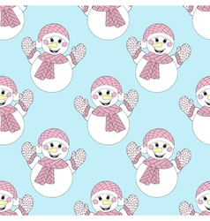 blue snowman seamless pattern Hand drawn Christmas vector image vector image