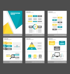 Blue yellow presentation template Infographics set vector image