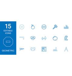 15 geometric icons vector