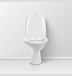 3d realistic white ceramic toilet in the vector