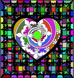 Abstract ornament color lattice and large heart vector