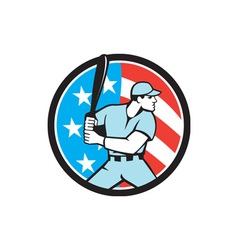 American baseball batter hitter usa flag circle vector
