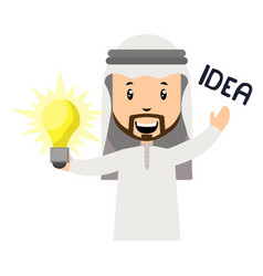 arab is haing idea on white background vector image