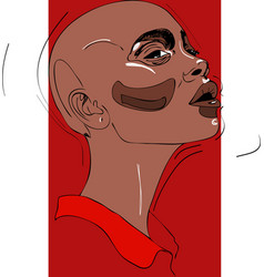 bald head of young woman one line design vector image
