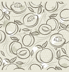 Beige seamless patterns with apricot plum and vector