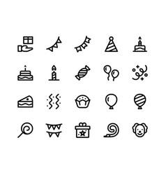 Birthday line icons vector