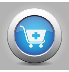 Blue button - shopping cart plus vector