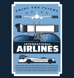 Boarding pass plane gangway and wheel airlines vector