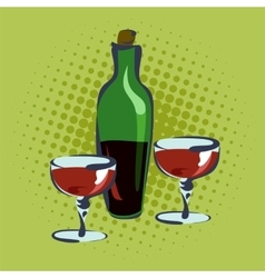 Bottle for wine and two glasses vector