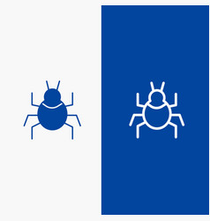 Bug nature virus indian line and glyph solid icon vector