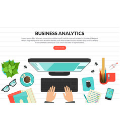business analytics top view workplace vector image