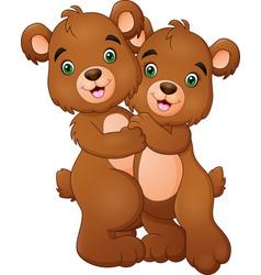 cartoon bear couple hugging vector image