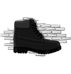 casual gray shoes with a rough outsole with lacing vector image