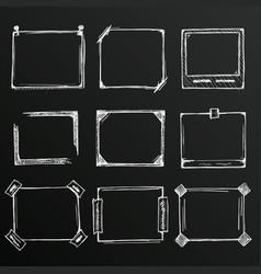 chalkboard sketch hand drawn frame set vector image