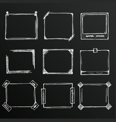 Chalkboard sketch of hand drawn frame set vector