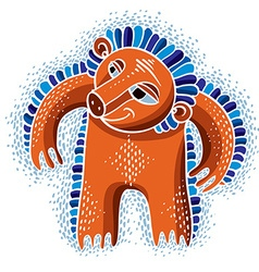 Character monster flat cute orange mutant vector