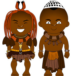 Cheerful african couple from himba tribe vector
