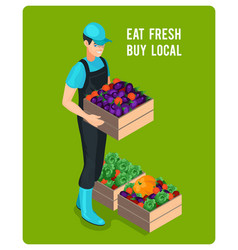 Cheerful isometric grocer vector
