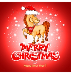 Christmas card with funny horse vector image