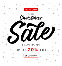 christmas sale happy new year calligraphy banner vector image