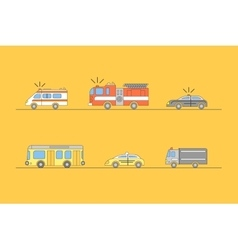 Colorful Car Thin Line Icons Set vector