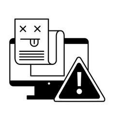 computer warning error page information vector image