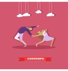Couple performing contemporary dance Girl and guy vector