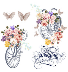 cute set for invitation design with fake bicycle vector image