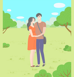 Date on nature man and woman hugging in park vector