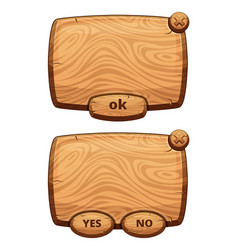 different wooden panels for game cartoon vector image