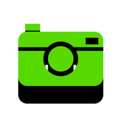 digital photo camera sign green 3d icon vector image