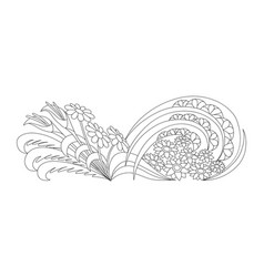 doodle flowerbed floral coloring book for vector image