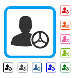 Driver person framed icon vector