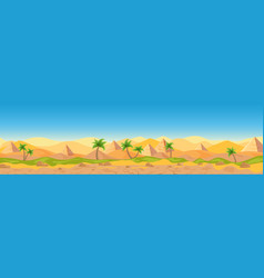 egyptian desert panoramic view cartoon vector image