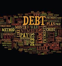 Eliminate debt fast text background word cloud vector