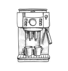 Espresso machine with two cups monochrome vector