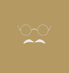 eyeglasses and gray mustache symbol vector image