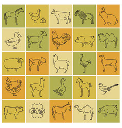 farm animal thin line collection 25 icon set flat vector image