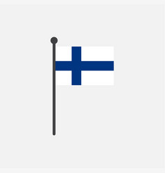 finland flag with pole icon isolated on white vector image
