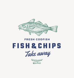 Fish and chips abstract sign symbol vector