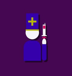 Flat icon design medical injection and doctor in vector