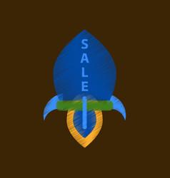 flat shading style icon sale rocket vector image