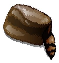 Fur winter hat with tail isolated on white vector