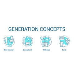 Generation concept icons set age groups idea thin vector
