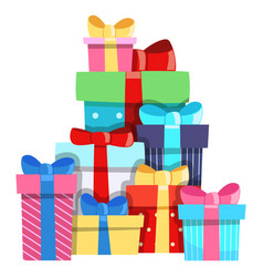 gift banner blue bow party knot box cartoon vector image