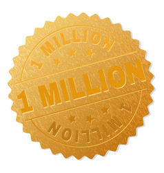 Golden 1 million medal stamp vector