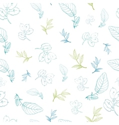 Green Blue Leaves Branches Drawing Seamless vector
