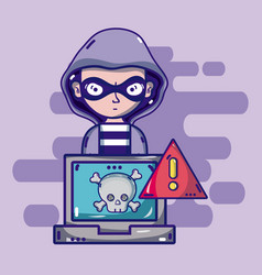 Hacker with cybercrime symbols vector